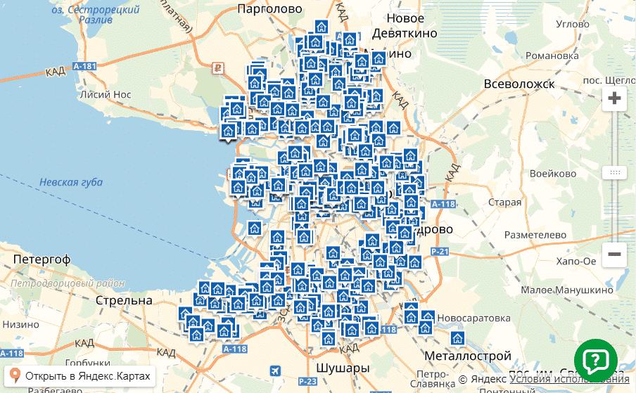Бесплатные точки вай-фай Дом.ру  на карте Санкт-Петербурга